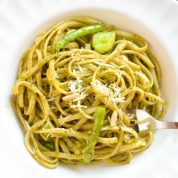 Pesto Pasta with Asparagus and Pine Nuts