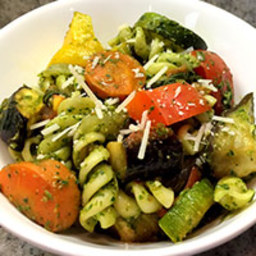 Pesto Rainbow Pasta with Roasted Vegetables