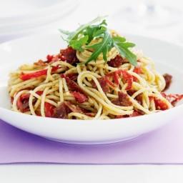 Pesto Spaghetti with Salami