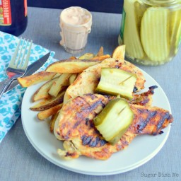 Pickle Chicken with Garlic Fries and Spicy Pickle Dip