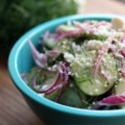 Pickled Cucumber Salad with Red Onions and Feta