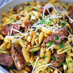Pignolias and Browned Butter Pasta with Grilled Sausages