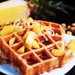 Pineapple Coconut Macadamia Nut Waffles with Pineapple Coconut Syrup