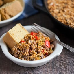 Pinto Bean Skillet Bake with Spicy Sunflower Oat Crumble Topping