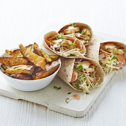 Piri-piri halloumi and slaw wraps with sweet potato wedges