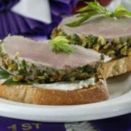 Pistachio-Crusted Pork Tenderloin Bruschetta