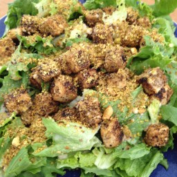 Pistachio-Crusted Tofu Salad with Lemon-Tahini Dressing