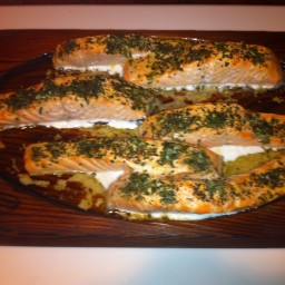 Planked Salmon with Mustard Vinaigrette