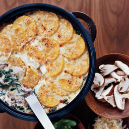 Polenta Gratin with Spinach and Wild Mushrooms