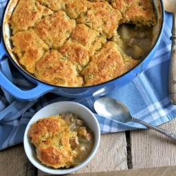 Pork and Green Chili Pot Pie with Scallion Cornbread Topping