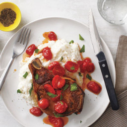 Pork Chops With Cheesy Grits and Jammy Tomatoes