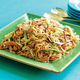 Pork Lo Mein with Seared Scallions and Shiitakes