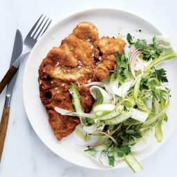 Pork Shoulder Cutlets with Fennel and Asparagus Salad