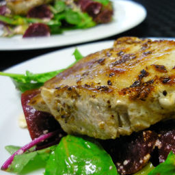Pork with beetroot salad