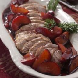 Pork Tenderloin with Roasted Plums  and  Rosemary