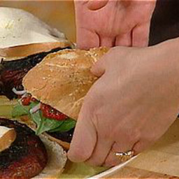 Portobello Burgers with Roasted Pepper Paste and Smoked Mozzarella