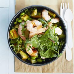 Prawn, avocado and soya bean salad