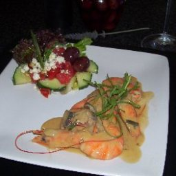 Prawns in a Creamy Mushroom And Vermouth Sauce