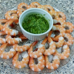 Prawns with Coriander And Chilli Pesto