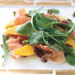 Prosciutto with Persimmon, Pomegranate, and Arugula