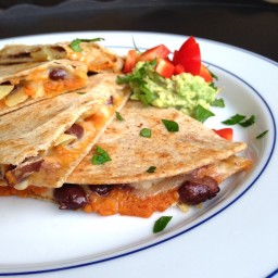 Pumpkin and Black Bean Quesadillas with Caramelized Onions