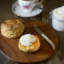 Pumpkin scones with apple whipped cream