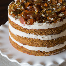 PUMPKIN SPICE CAKE WITH CINNAMON BROWN SUGAR CREAM CHEESE FROSTING AND PEPI