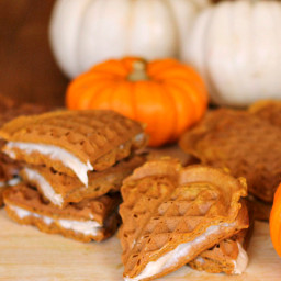 Pumpkin Waffles with Cream Cheese Filling