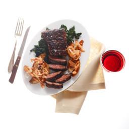 Quick-Marinated Skirt Steak with Sriracha Potatoes and Spinach