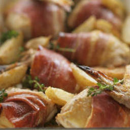Quick roast chicken with prosciutto and potato wedges
