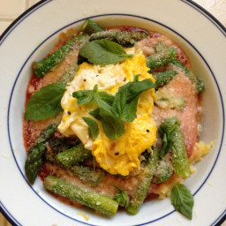 Quick Spring Polenta with Asparagus, Browned Butter Fried Egg & Basil