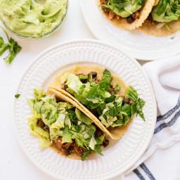 Quinoa Black Bean Tacos with Creamy Avocado Sauce