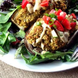 Quinoa Falafel Stuffed Eggplant