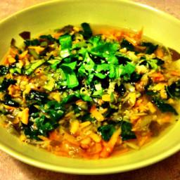 Quinoa & Kale Soup with Sorrel Greens