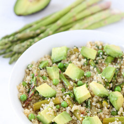 Quinoa Salad with Asparagus, Peas, Avocado and Lemon Basil Dressing