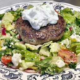 RACHAEL'S GYRO BURGERS WITH GREEK SALAD