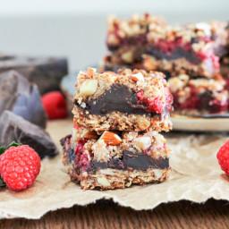 Raspberry Chocolate Chunk Bars (GF + Vegan)