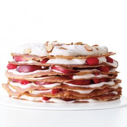 Raspberry Crepe Cake with Nectarines and Cream