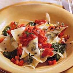 Ravioli with Roasted Tomatoes and Arugula