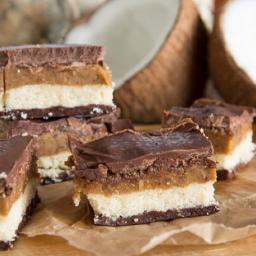 raw, vegan, gluten-free coconut caramel slice