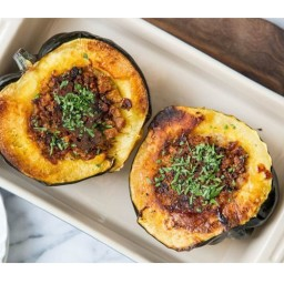 Recipe for: Acorn Squash Stuffed with Bread, Cheese, and Bacon