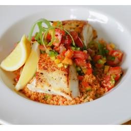 Pan Seared Halibut over Tabouli Salad with Heirloom Tomatoes