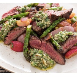 Sirloin Tip Steaks with New Potato, Asparagus and Radish Hash