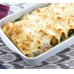 Recipe for: Three-Cheese Cannelloni with Butternut Squash and Kale