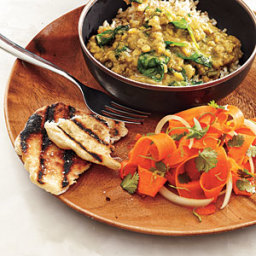 Red Lentil Dal with Carrot Salad and Coriander Flatbreads