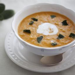 Red Lentil Soup with Crispy Sage