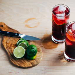 Red Wine Spritzers with Lime and Bitters