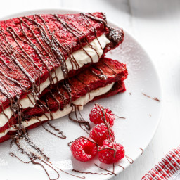 Red Velvet French Toast with Vanilla Bean Cheesecake Filling