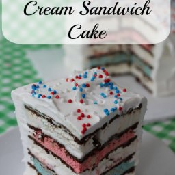 Red White  and  Blue Ice Cream Sandwich Cake