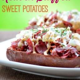 Reuben Stuffed Sweet Potatoes with Russian Dressing